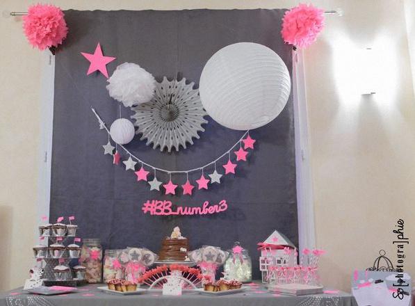 La baby shower en rose et gris de claire marie - Deco baby shower fille ...