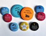 Bulles de Neige : Faire-part de naissance magnet et jolis badges de naissance