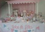Une sweet table rose et bleue pour un anniversaire sur le thème de la fête foraine