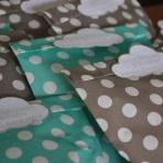 La baby shower d'Amélie en vert et gris, sur le thème des Montgolfières