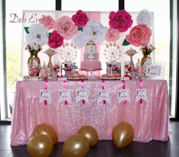 un 1er anniversaire de princesse en rose dor et fuchsia pour lanaya. Black Bedroom Furniture Sets. Home Design Ideas