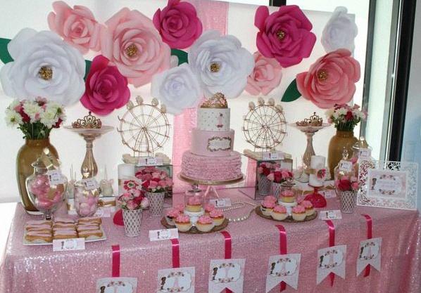 Decoration Table Anniversaire Rose Et Blanc