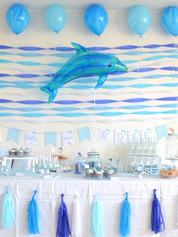 baby shower dauphin bleu