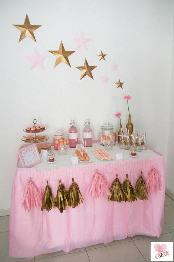 baby shower doré étoiles