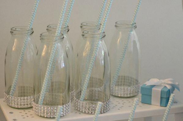 bouteilles de lait rétro baby shower