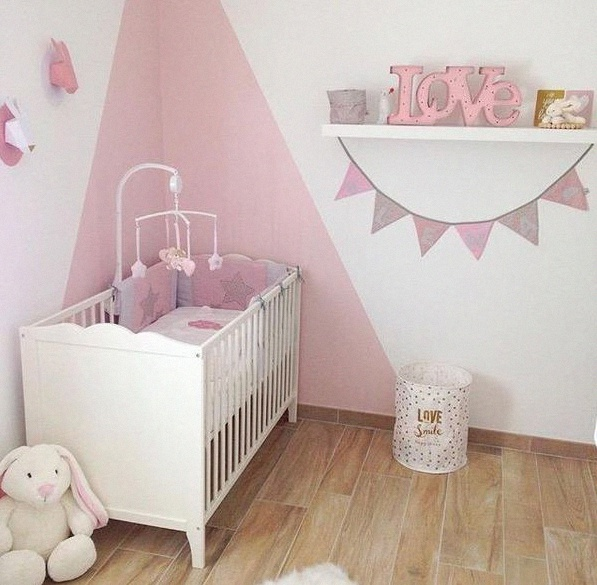 Chambre bebe fille rose et gris for Photo decoration chambre bebe fille