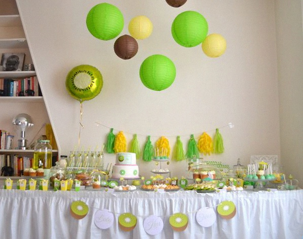 sweet table baby shower vert jaune
