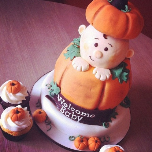 gateau de baby shower halloween citrouille