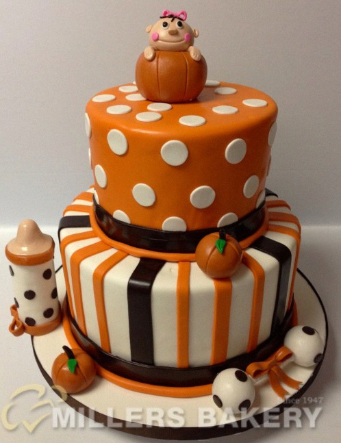 gateau 3D halloween citrouille baby shower