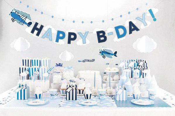 deco anniversaire bebe bleu et blanc