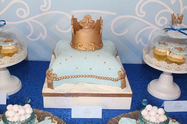 anniversaire petit prince bleu royal doré