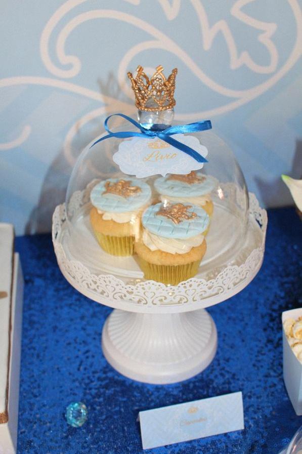 cupcakes petit prince bleu royal doré