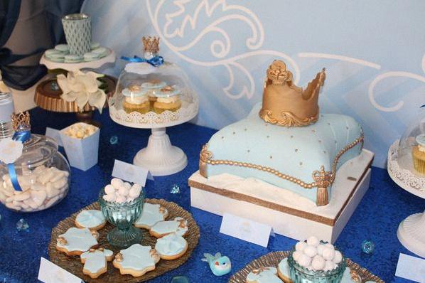 décoration anniversaire petit prince bleu royal doré