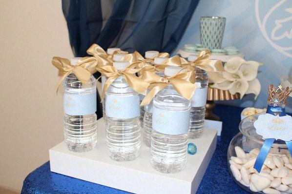 bouteilles personnalisées anniversaire petit prince bleu royal doré