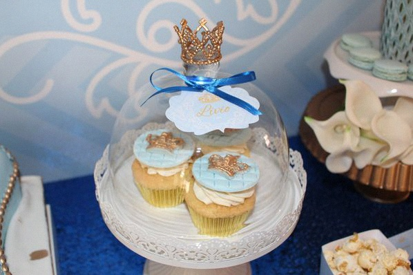 cupcakes anniversaire petit prince bleu royal doré