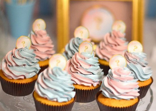buffet gender reveal party bleu rose