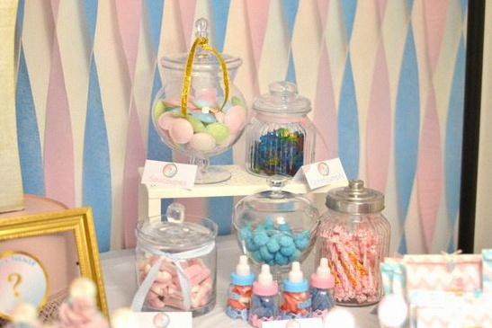 candy bar gender reveal party bleu rose