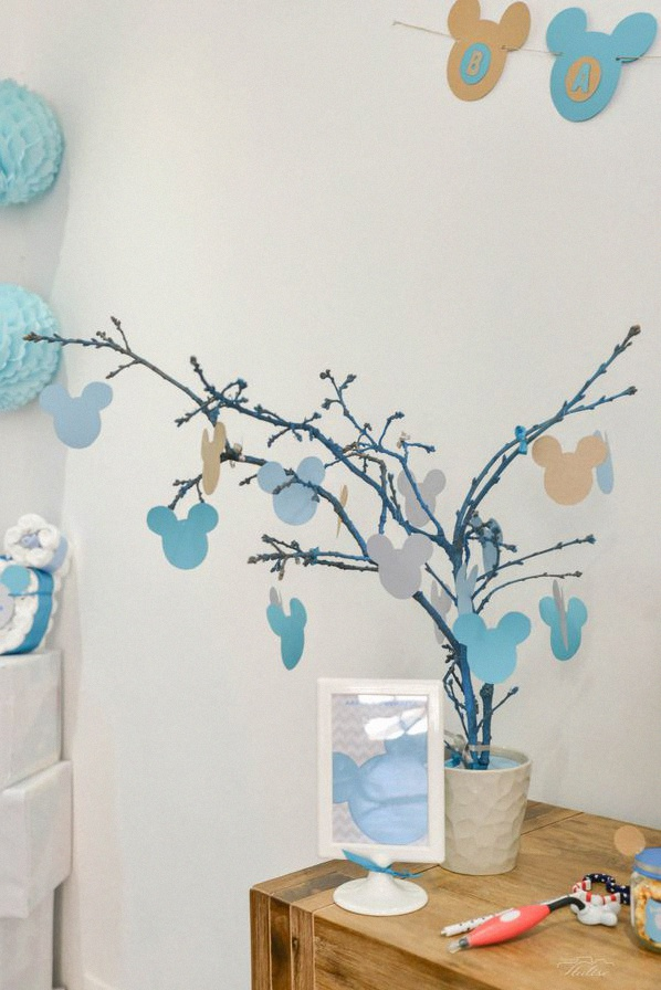 décoration baby shower bleu gris