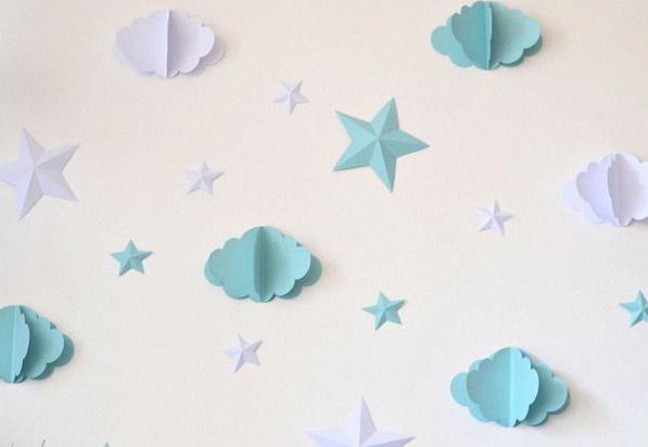 décoration baby shower nuages étoiles