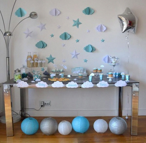 sweet table baby shower nuages étoiles