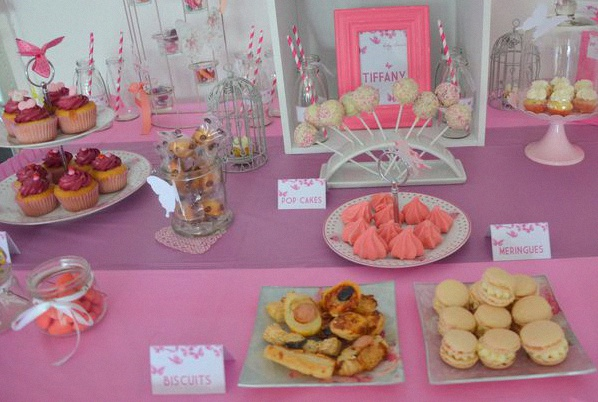 sweet table baby shower papillons