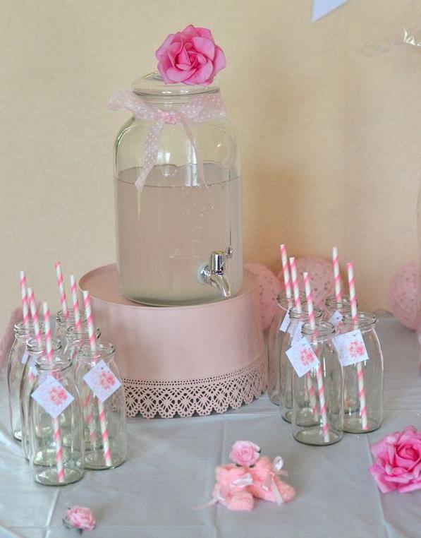 Baby shower surprise Baby shower rose décoration fleur rose sweet table fleur rose
