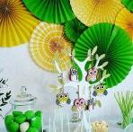 Chouette, une Baby shower ! Une baby shower Hibou, en jaune et vert