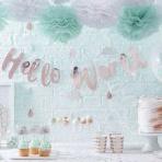 Thème de Baby shower tendance : Hello World en rose cuivré et mint