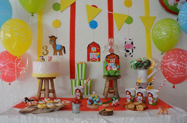 sweet table anniversaire animaux de la ferme buffet