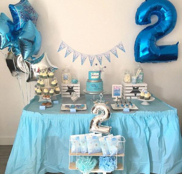 sweet table anniversaire enfant bleu étoiles pastel argent twinkle twinkle little star