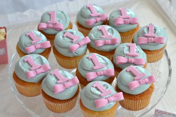 décoration anniversaire baby shower jumeaux cupcakes