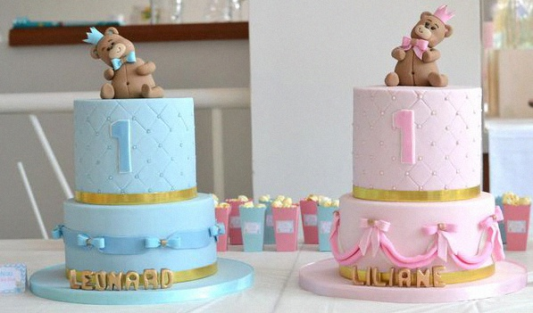 décoration anniversaire baby shower jumeaux gateau 1 an