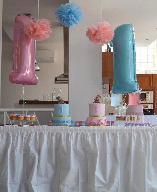 décoration anniversaire baby shower jumeaux