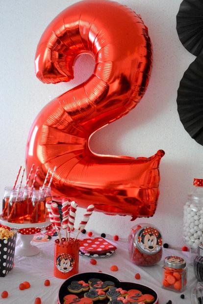 anniversaire minnie mouse décoration rouge et noir