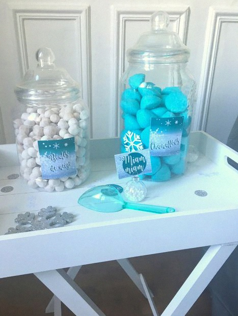 baby shower hiver thème flocons candy bar