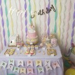 Le premier anniversaire d'Eve sur le thème Licorne en pastel et doré