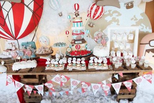 decoration anniversaire vintage montgolfière