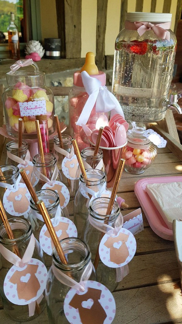 baby shower rose gold décoration rose gold sweet table rose gold
