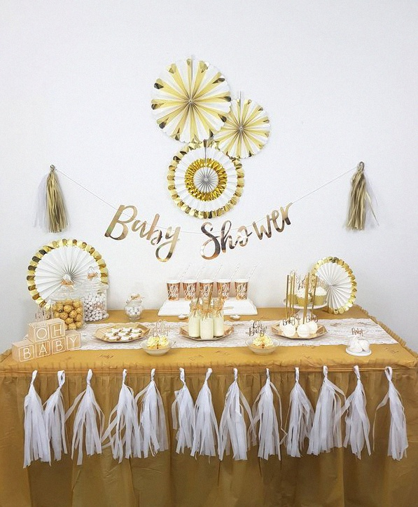 baby shower sweet table blanc et dore
