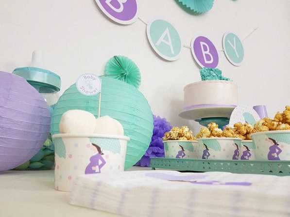 baby shower d'aurelie future maman mint et parme