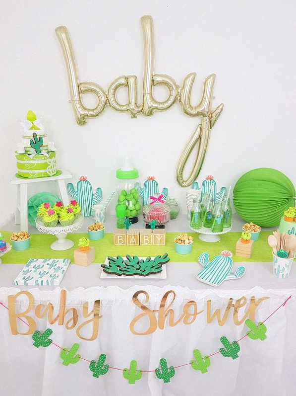 baby shower cactus buffet