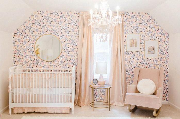 chambre bébé rose poudré